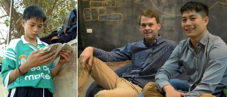Duy Vị khi 16 tuổi (trái) đã thoát khỏi số phận đánh giày nhờ gặp được Michael Brosowski và sau khi thành công, anh quay trở lại cùng Michael giúp những đứa trẻ khác. Ảnh: Blue Dragon.