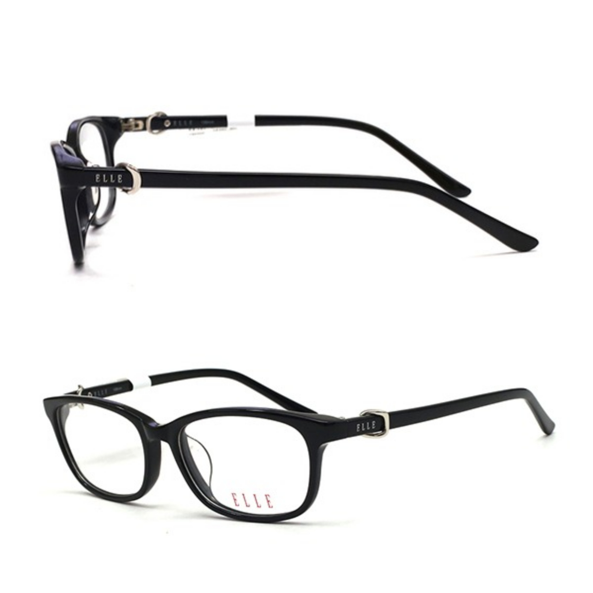 Elle EL14362-BK frames have smaller lenses with more curved shape in corners and edges.  Elle logo printed on the glass, combined with the accentuation is metal decorative details.  High quality frame material, limited deformation, light weight, does not leave marks on the skin despite being worn for a long time.