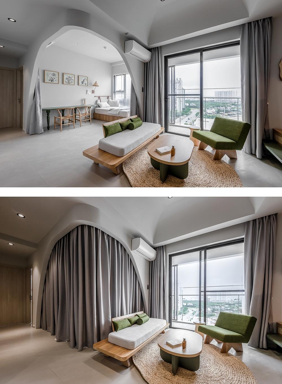 Phòng ngủ ngăn cách với không gian sinh hoạt chung bằng một tấm rèm. Ảnh: Minq Bui Photography.