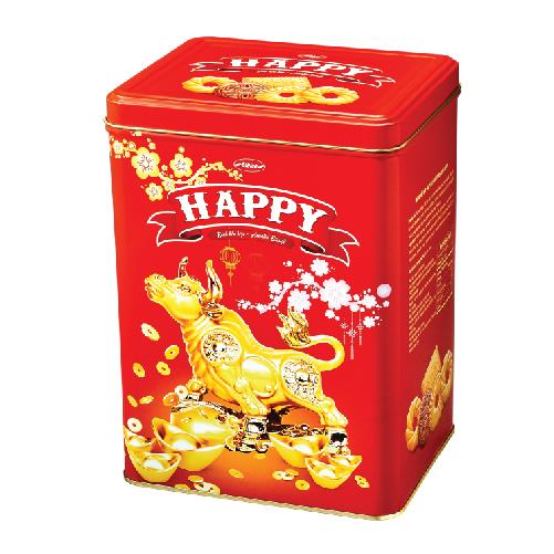 Dòng bánh Happy với thiết kế trâu vàng cùng đồng tiền vàng mang tài lộc đến cho gia chủ. Ảnh: Bibica.