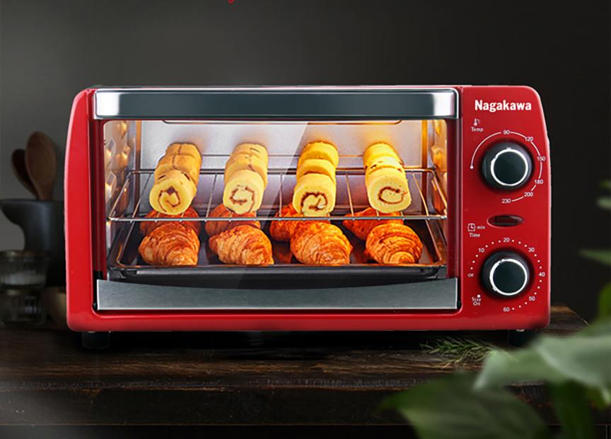 Lò nướng điện đa năng Nagakawa NAG3210dung tích 10 lít, sử dụng công nghệ nướng halogen với hai thanh nhiệt đối xứng làm chín thực phẩm. Vỏ lò bằng kim loại sơn tĩnh điện chống han gỉ, cửa bằng kính chịu nhiệt, giá để thực phẩm bằng thép không gỉ. Lò có thể hẹn giờ tới 60 phút, điều chỉnh nhiệt độ linh hoạt từ 0 - 230 độ C thông qua núm xoay. Sản phẩm bảo hành 12 tháng. Giá niêm yết 981.000 đồng, giá ưu đãi cuối tuần 359.000 đồng, và tặng thêm hộp 10 khẩu trang vải kháng khuẩn.