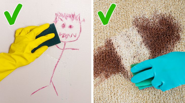 An expired toothpaste can remove stains from walls or carpet stains.  Artwork: Brightside.