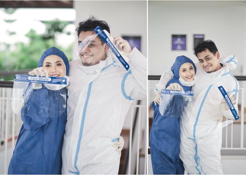 Cô dâu Nurhafizah và chú rể Azwa đã yêu nhau khi cùng chống dịch. Ảnh: Azwa Nizar.