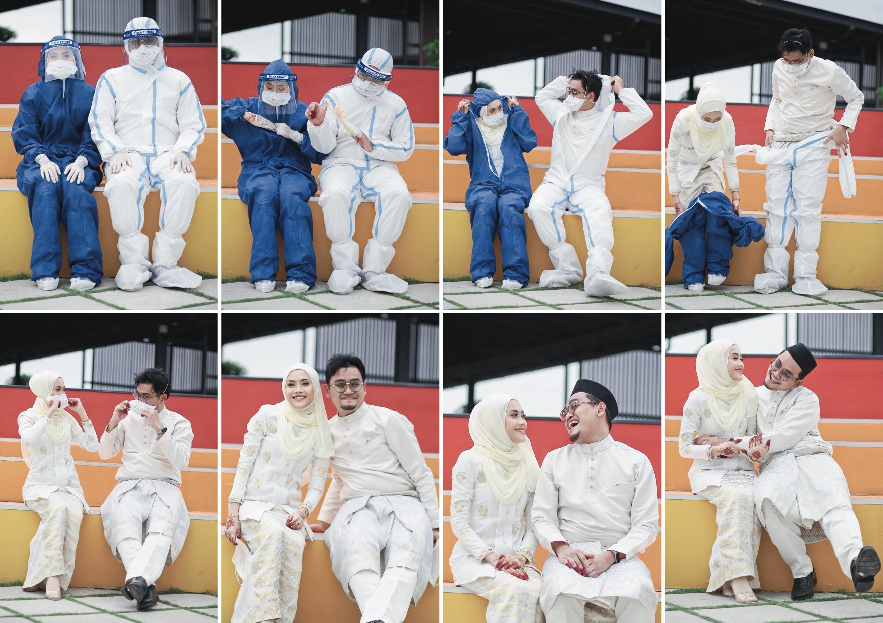 Ảnh cưới gây chú ý của y tá Azwa và vợ. Ảnh: Azwa Nizar.