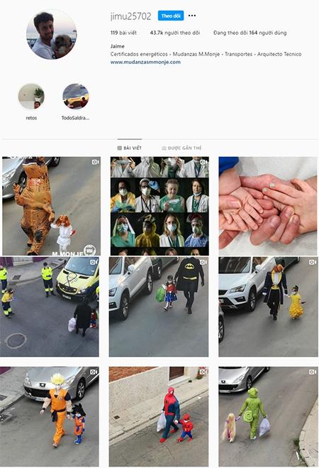 Jaime Monje đã trở thành thần tượng trên Instagram nhờ những clip mặc đồ cosplay đi đổ rác cùng con gái nhỏ trong thời gian cách ly tránh dịch Covid-19. Ảnh: hhworkwear.com