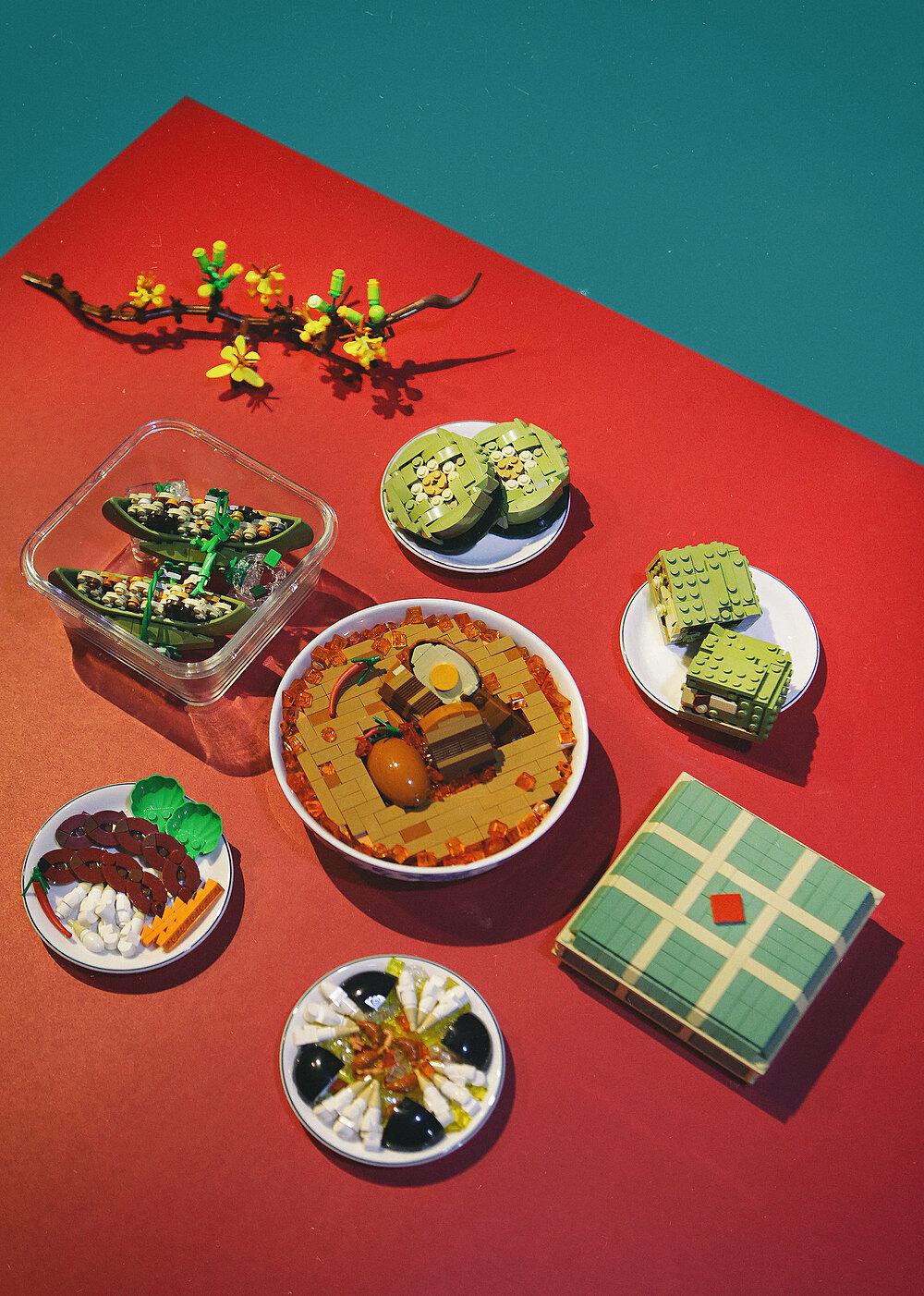 Những món ăn ngày Tết bằng Lego của Huỳnh Cao Vũ Khang. Ảnh: Nhân vật cung cấp.