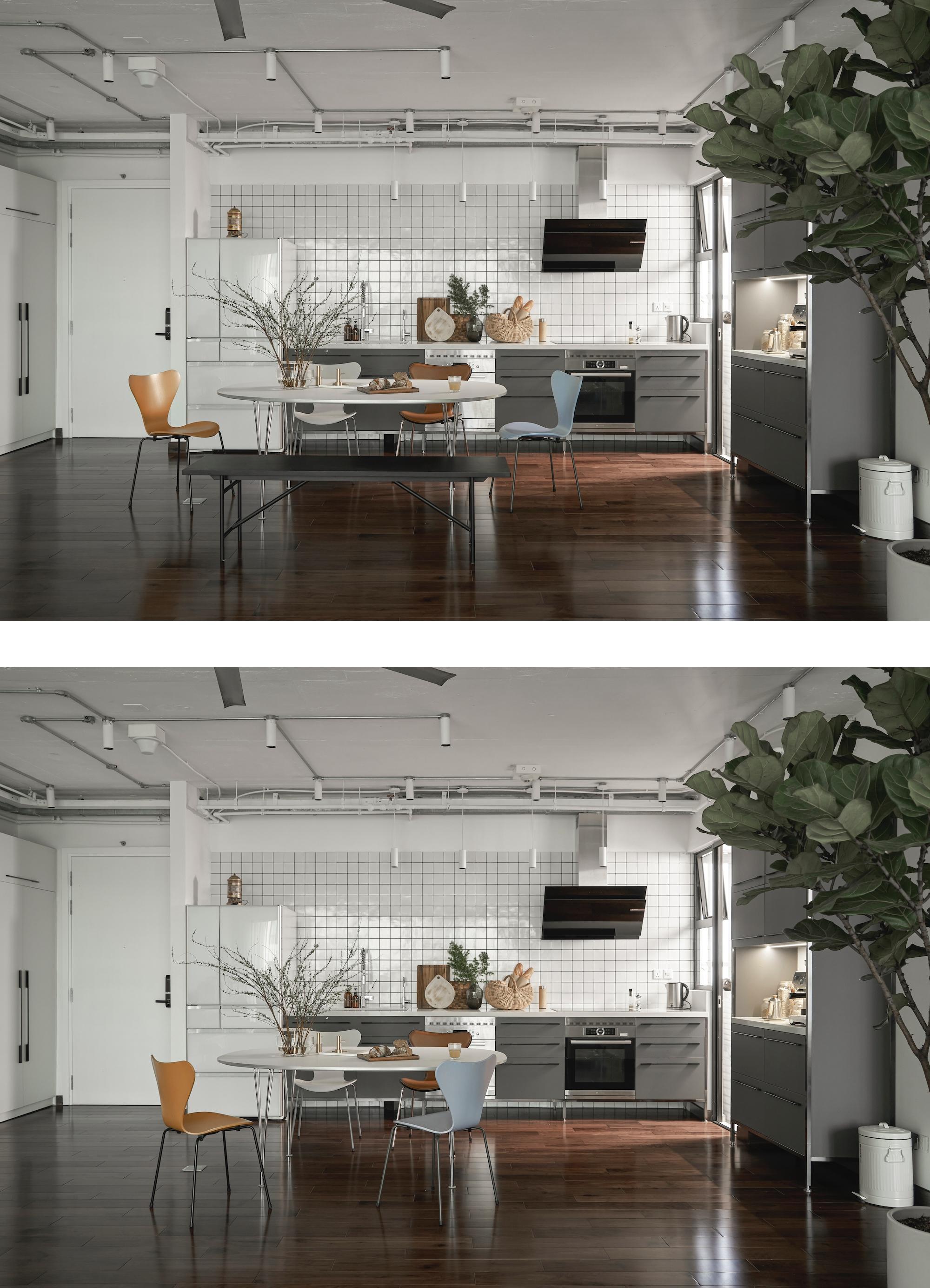 Tủ bếp đã đủ chỗ chứa nên không cần làm tủ treo phía trên. Nội thất rời giúp chủ nhà dễ dàng di chuyển, thay đổi khi có nhu cầu. Ảnh: Đỗ Sỹ.