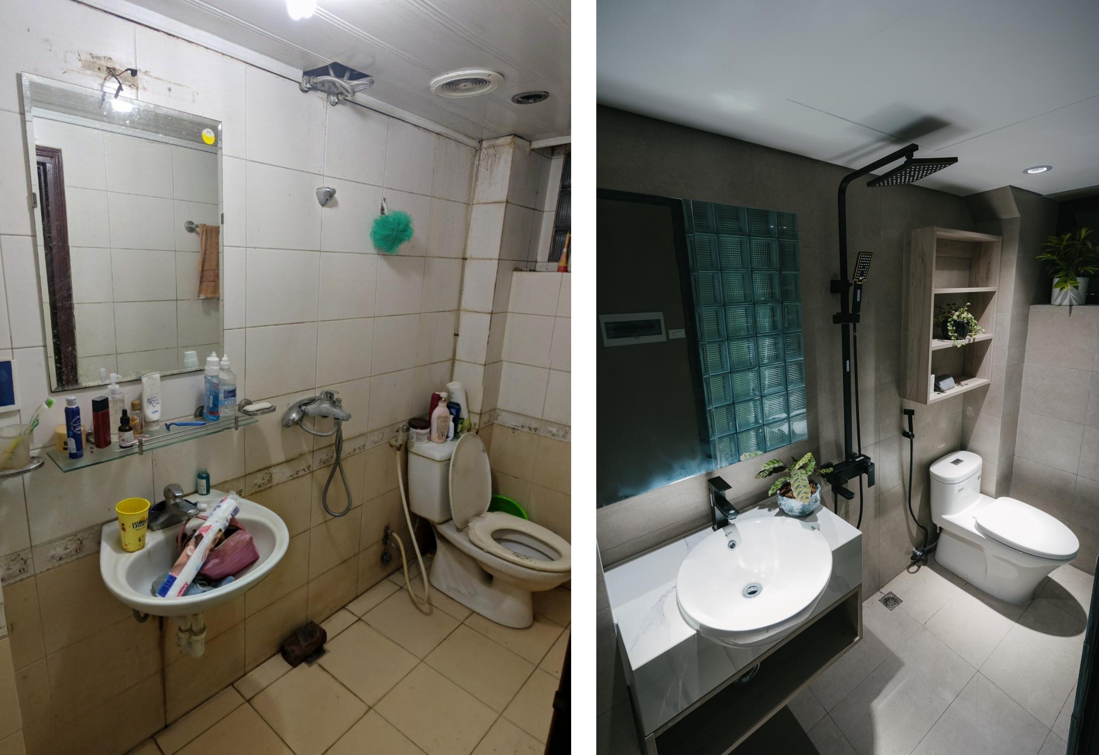 WC trước và sau khi cải tạo. Ảnh: ABlueBird Photography.