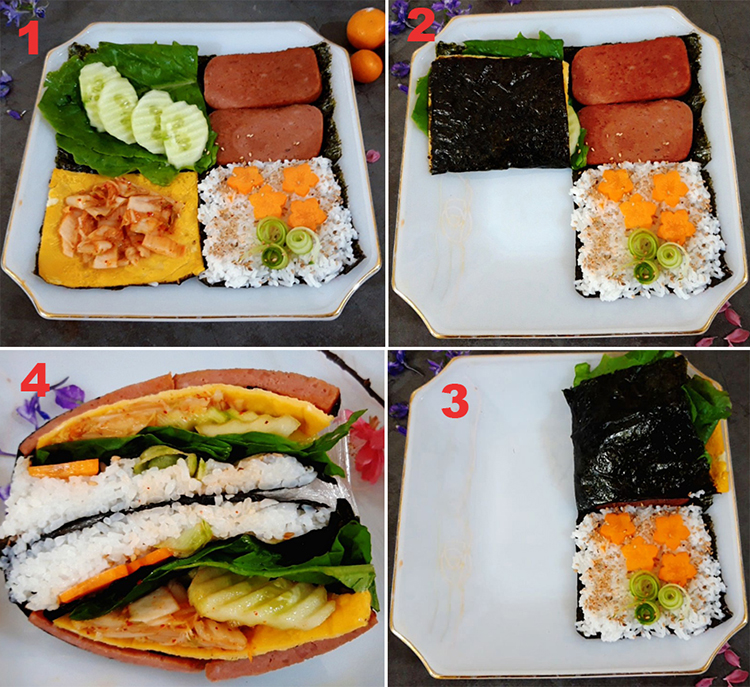 How to fold the Kimbap according to the steps.  Photo: Bui Thuy