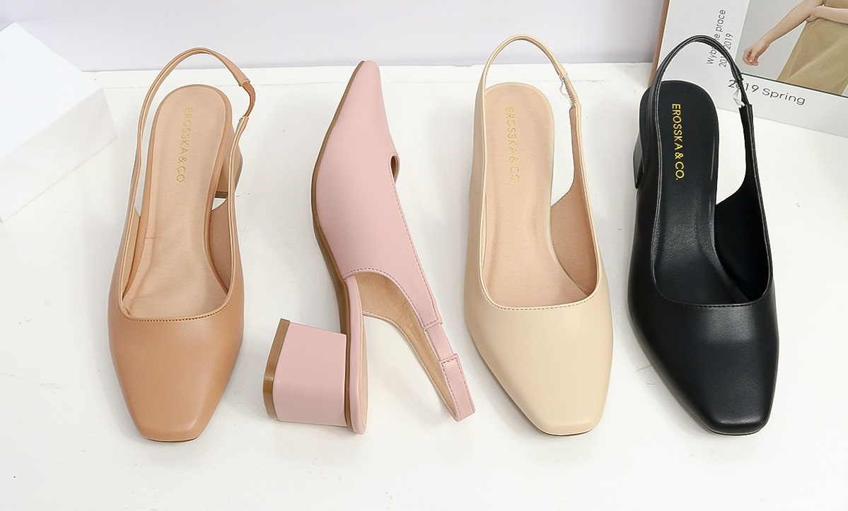 Square-toe Erosska heels with sling back design, easy to wear.  open heel with thin straps of basic design 5cm high
