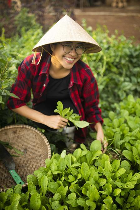 Nhiếp ảnh gia Nguyễn Kim hái rau trong khu vườn rộng 11.000m2 của gia đình. Ảnh: Nhân vật cung cấp.