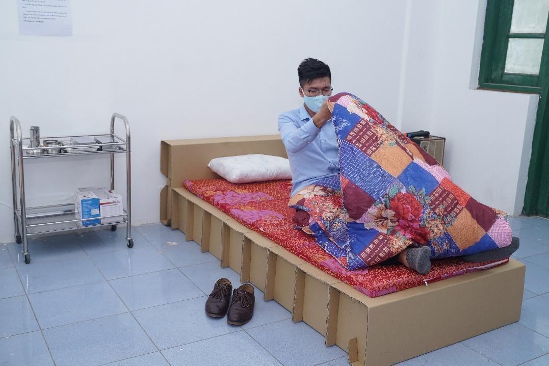 Mẫu giường giấy của SCGP sáng tạo. Ảnh: SCGP.