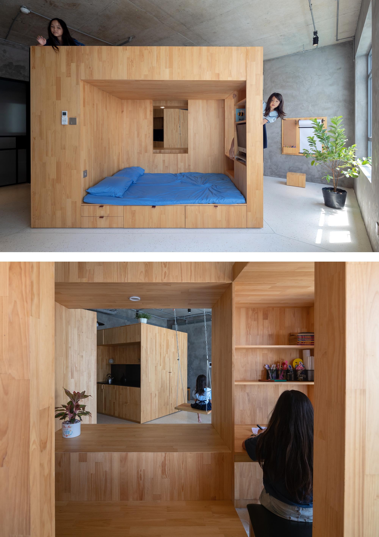 Chiếc hộp gỗ là nơi người ở ngủ, nghỉ, chơi, làm việc, cất chứa đồ đạc.