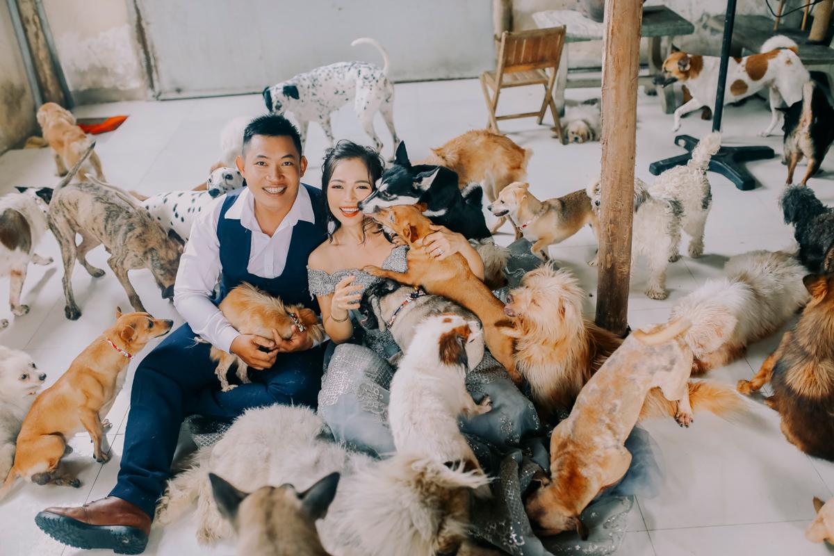 Khánh và Như chụp ảnh cưới bên hơn 300 con vật được họ cưu mang tại cơ sở ở quận Bình Chánh, TPHCM. Ảnh: Nhân vật cung cấp.