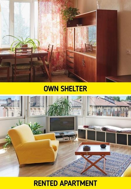 Thà ở nhà thuê tiện nghi còn hơn sống trong ngôi nhà của mình nhưng chật chội, xa nơi làm việc. Ảnh: Brightside.