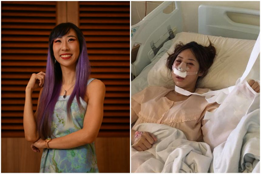Rachel từng là nạn nhân của bạo hành gia đình trong nhiều năm, trước khi trở nên tự tin, xinh đẹp như hiện tại (từ phải qua). Ảnh: Straitstimes.