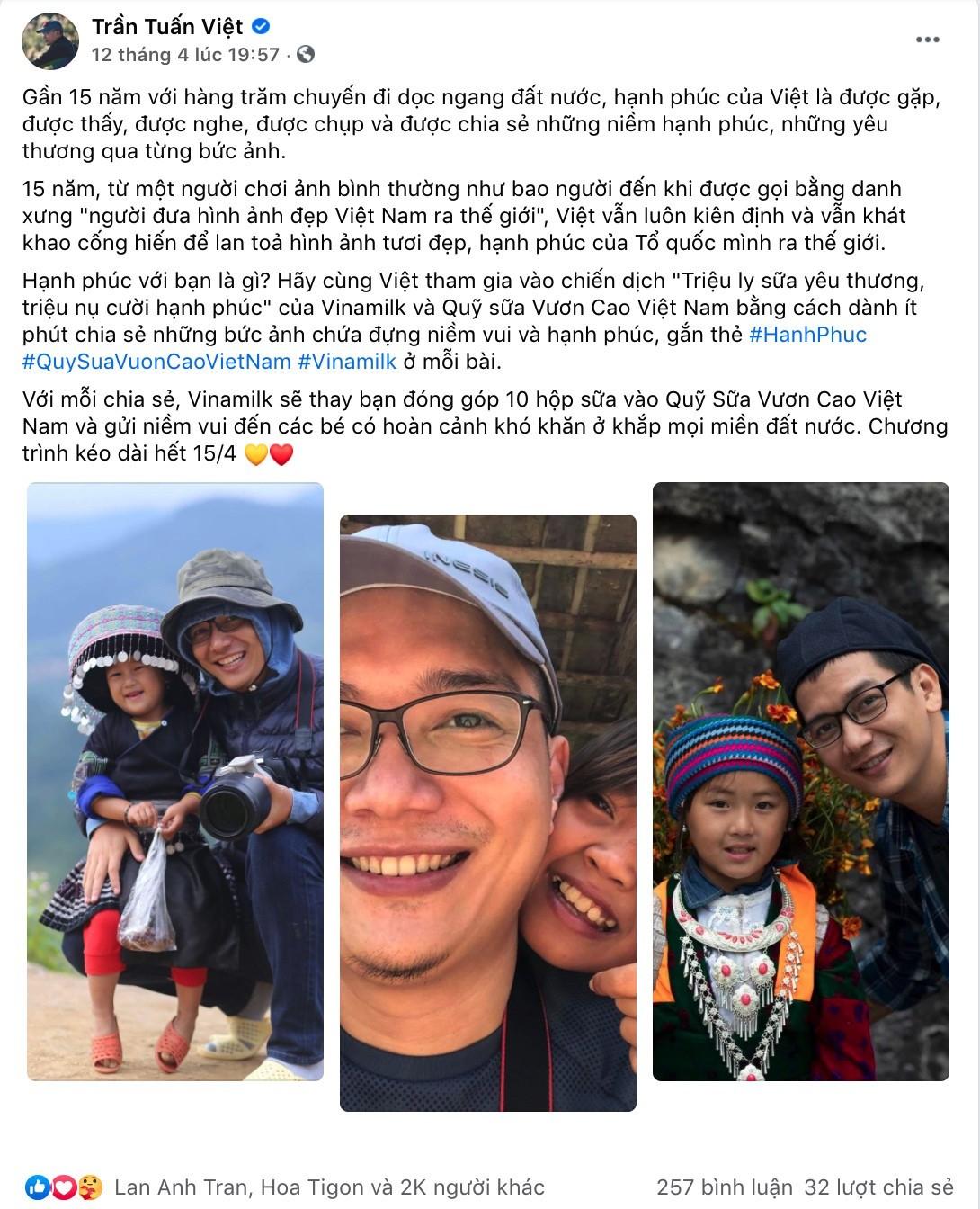 Hình 2: Bài viết hưởng ứng chiến dịch của nhiếp ảnh gia Trần Tuấn Việt đã nhận hơn 2.000 lượt thích và chia sẻ.