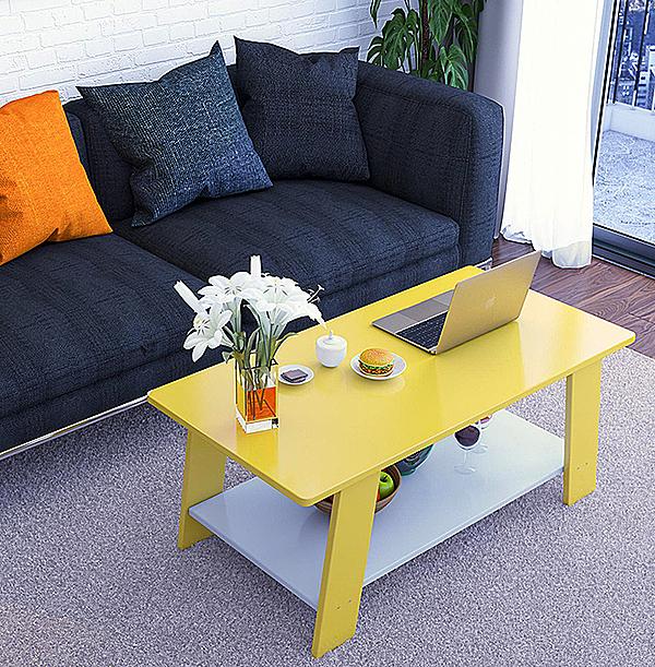 Bàn trà sofa, bàn trà cafe hiện đại 2 tầng đa năng gp67 màu vàng giảm 28% còn 323.000 đồng; kích thước mặt bàn trên rộng 50 cm - dài 1 m - cao 52 cm; chất liệu mặt bàn sản xuất từ gỗ MDF phủ melamin chống xước, chống nước, bề mặt sáng bóng.