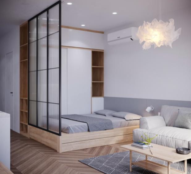 Gợi ý cách phối màu cho căn hộ theo phong cách tối giản với ba màu trắng, xám và nâu sáng.