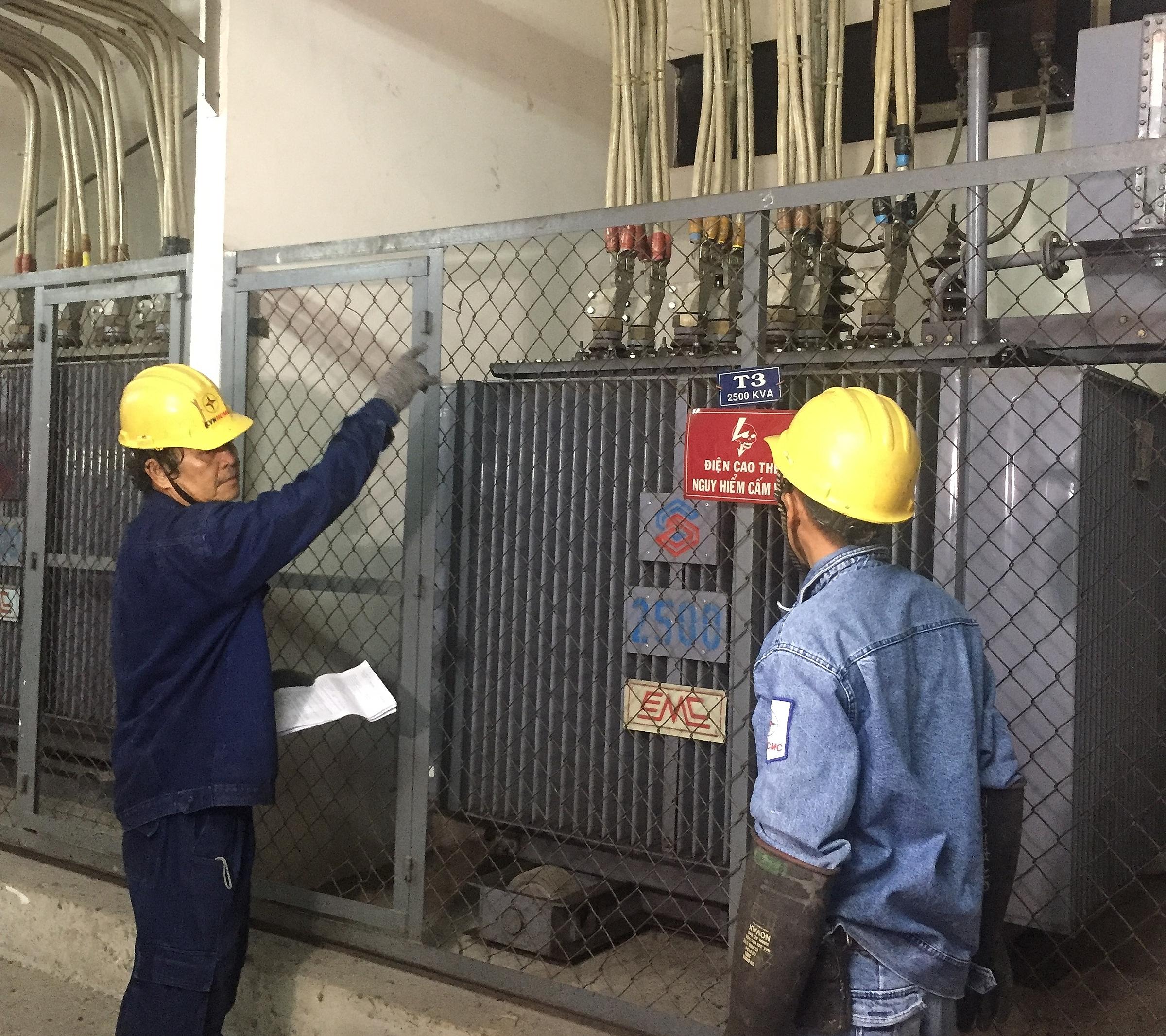Nhân viên điện lực khảo sát lắp đặt lưới điện. Ảnh: EVNHCMC.