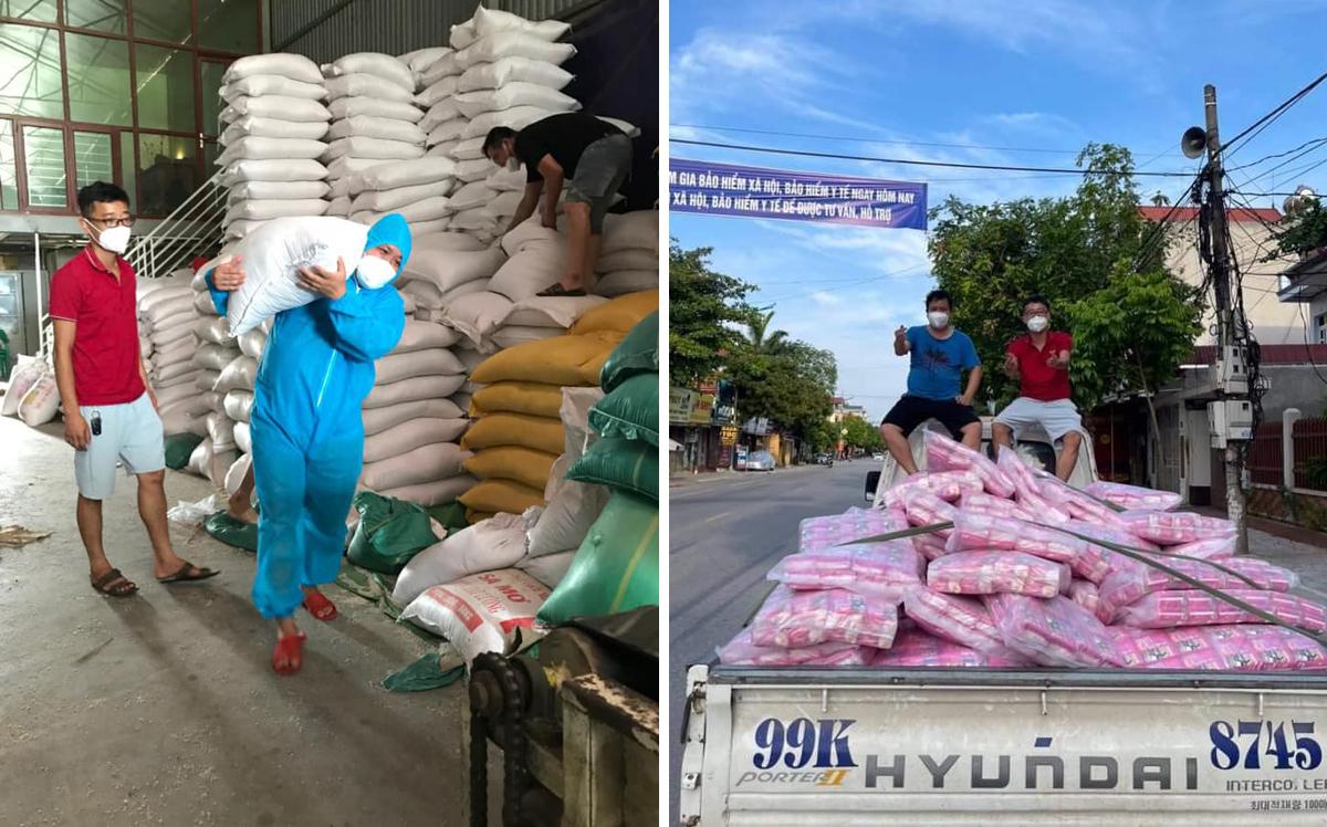 Anh Linh (áo xanh) và Tuấn Anh (áo đỏ) hợp thành một đội thiện nguyện hoạt động vì quê hương Việt Yên. Ảnh: ANRM.