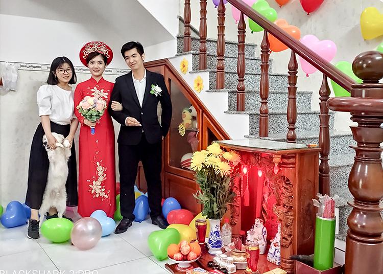 Đám cưới của Hoàng Nguyên và Thủy Trang chỉ có một người trực tiếp chứng kiến, đó là Minh Thư, em gái chú rể. Ảnh: Nhân vật cung cấp.