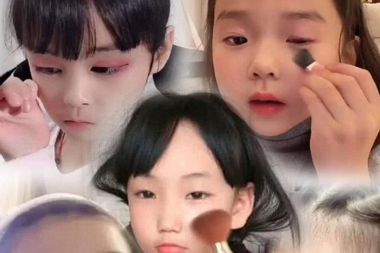Các vlogger làm đẹp trẻ em đã phát triển mạnh ở Trung Quốc, thúc đẩy doanh số bán đồ trang điểm cho trẻ em. Ảnh: SCMP.