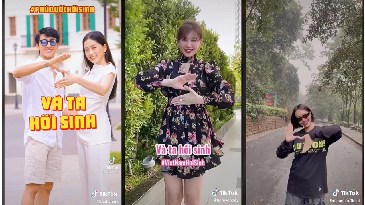 Các nghệ sĩ tham gia nhảy Vũ điệu hồi sinh và chia sẻ trên mạng xã hội.