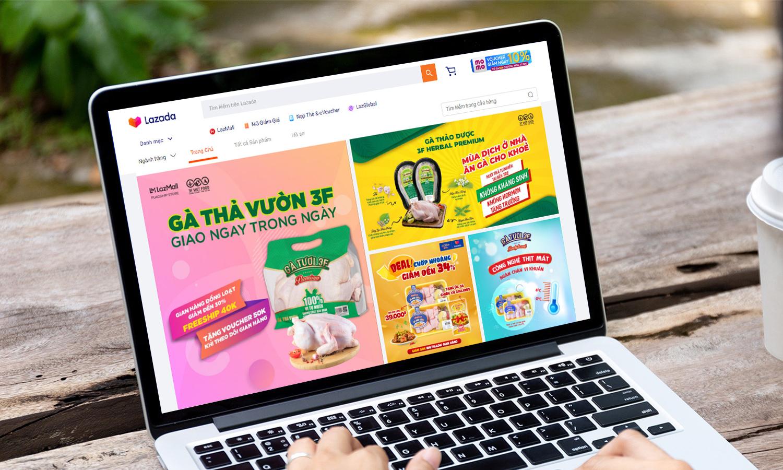 Ngoài đa dạng sản phẩm, gian hàng Gà Ngon 3F trên Lazada còn áp dụng nhiều ưu đãi giúp việc đi chợ online tiện lợi, tiết kiệm hơn. Ảnh: Lazada Việt Nam.