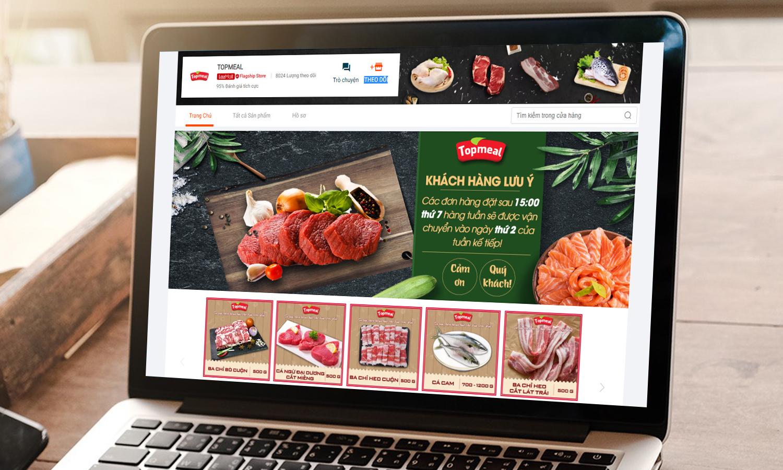 Các sản phẩm của TopMeal trên gian hàng LazMall đa dạng từ heo, bò, đến các loại thủy, hải sản tươi sống. Ảnh: Lazada Việt Nam.