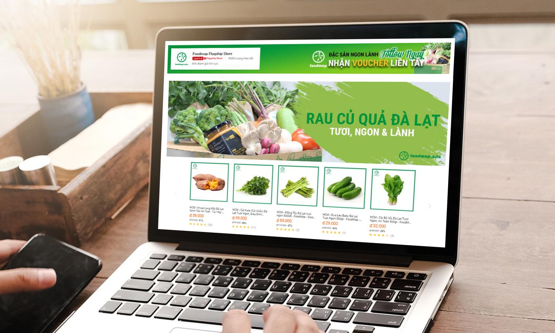 Giao diện gian hàng Foodmap trên sàn thương mại điện tử Lazada với đa dạng cái lại rau, củ, quả tươi, giao tận nơi trong 2h-4h. Ảnh: Lazada Việt Nam.