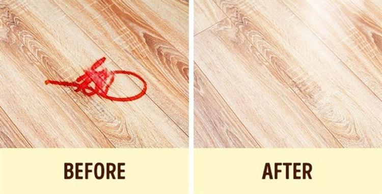 Vết bút dạ hay bút chì trên sàn nhà có thể xóa sạch bằng nhiều cách khác nhau. Ảnh: brightside)