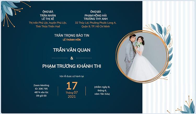 Thiệp mời online của cặp đôi Khánh Thi- Văn Quán. Ảnh: Nhân vật cung cấp.