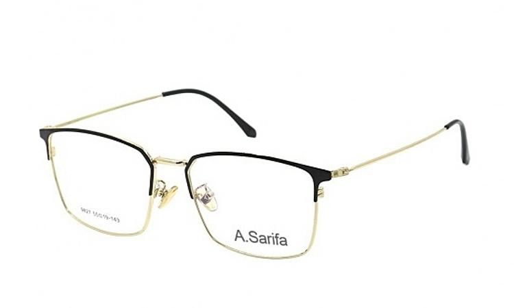 Gọng kính Sarifa 9827 làm từ chất liệu plastic và hợp kim Titanium, trọng lượng nhẹ ôm sát gương mặt. Đệm mũi rời. Phần kim loại ở gọng có các màu bạc, vàng, xám hoặc trắng. Sản phẩm đang được ưu đãi 48% còn 269.000 đồng.