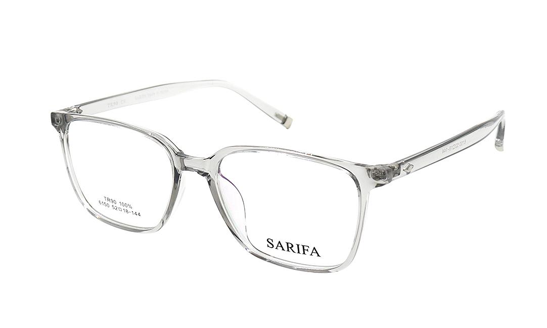 Gọng kính Sarifa 6150 C9 có khung viền mắt kính bằng nhựa, càng kính làm từ hợp kim titanium bọc nhựa. Gọng trọng lượng nhẹ ôm sát gương mặt. Đệm mũi liền. Sản phẩm đang được ưu đãi 40% còn 269.000 đồng.