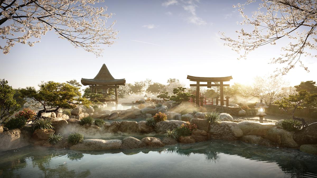 Suối khoáng nóng trong khu đô thị Ecopark.