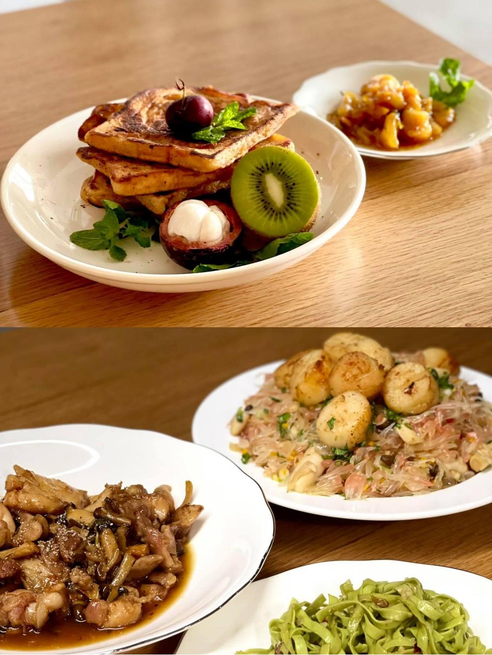 Một số món ăn đẹp mắt do anh Sơn tự nấu trong những ngày giãn cách. Ảnh: NVCC.
