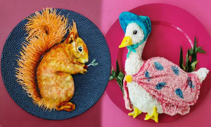Hai đữa thức ăn, trong đó đĩa con sóc vàng được tạo thành từ cà rốt, khoai tây, hành tây và táo xanh; đĩa cô vịt choàng khăn hồng được tạo thành từ hummus (đậu gà nấu chín nghiền nhuyễn trộn gia vị), couscous (bột báng lúa mỳ), dưa chuột, bột nghệ, tảo xoắn, bột củ dền và rau mùi. Ảnh: Epochtimes.