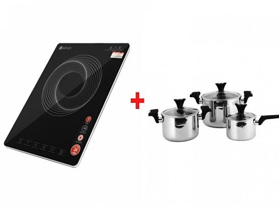 Combo bếp điện từ đơn Elmich ICE-1828OL và bộ nồi Inox 3 lớp đáy liền Tri-max XP EL-3755 giảm 32% còn 2,392 triệu đồng. Trong đó, bếp điện có có mâm từ cấu tạo kép đôi cho công suất bếp đạt tối đa; mặt kính ceramic cường lực. Còn bộ nồi gồm 2 nồi và 1 quánh với các kích cỡ lần lượt 24 - 20 - 16 cm, chất liệu lớp trong cùng là inox 304. Sản phẩm phù hợp với nhiều nhu cầu nấu nướng cùng lúc trong bữa ăn nhờ đó tiết kiệm thời gian và nhiên liệu.Nhập mã TANG_ELMICH16 để nhận quà là ấm đun nước siêu tốc Smartcook 1,7 lít KES-0695 trị giá 369.000 đồng.