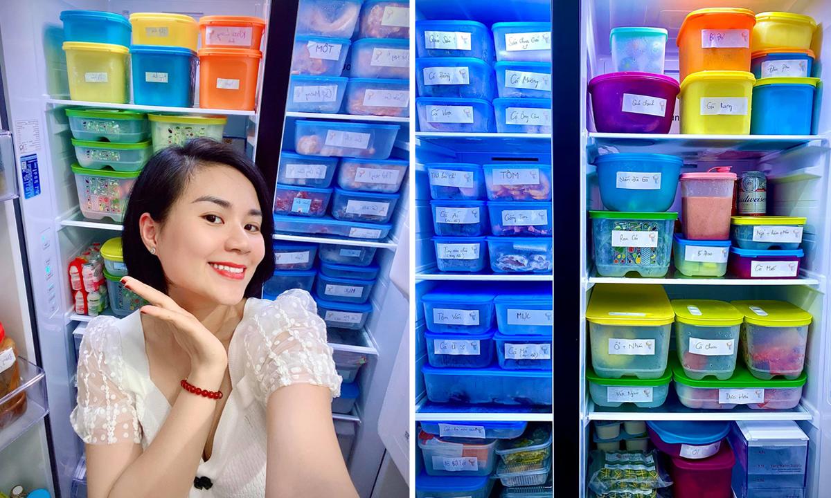 Ngọc Anh trữ thực phẩm trong các hộp khiến tủ lạnh tủ nên bắt mắt. Ảnh: Nhân vật cung cấp.