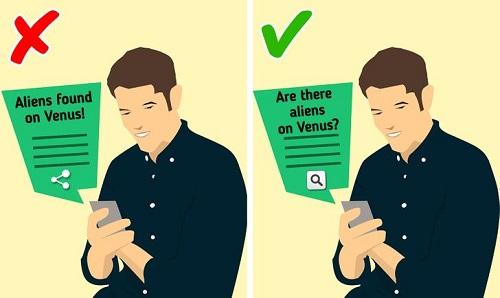 Trước khi định chia sẻ thông tin gì hãy đặt câu hỏi, kiểm tra xem nguồn tin có đáng tin cậy hay không. Ảnh minh họa: Brightside.