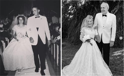 Ông bà Gary tái hiện bức ảnh cùng bước xuống lối đi năm 1962. Bà Karen vẫn mặc vừa chiếc váy cưới của mình. Ảnh: kleinfeldbridal/Instagram
