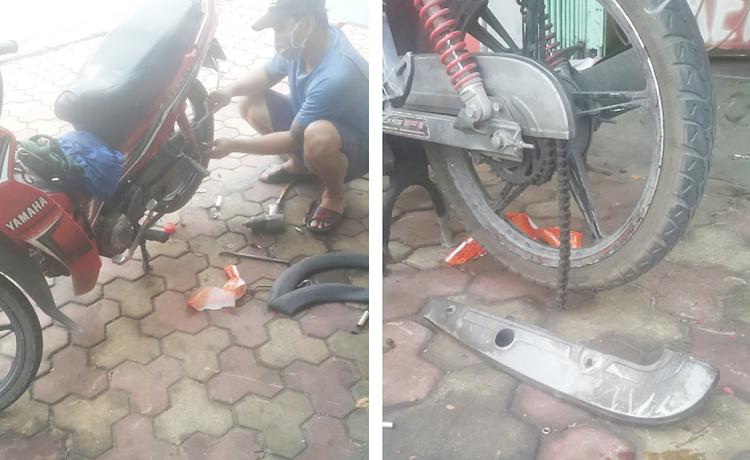 Anh Tiệp chụp lại cảnh xe phải sửa do thủng xăm và đứt xích để lỡ bị cán bộ ở chốt kiểm dịch phạt thì còn có bằng chứng. Ảnh: Nhân vật cung cấp.