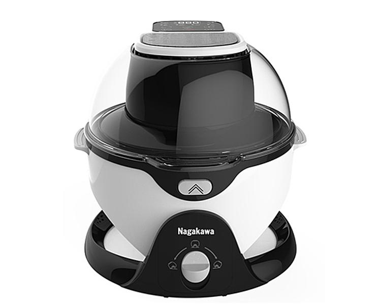 Nồi chiên không dầu Nagakawa giúp làm chín thực phẩm mà không cần dầu mỡ. Khoang nồi nghiêng 45° kết hợp trục xoay 360°, hệ thống gia nhiệt đối lưu giúp thực phẩm chín đều. Nồi cài đặt sẵn 6 chương trình nấu nướng, với 19 chế độ nấu linh hoạt từ 50 - 240°, phù hợp mọi loại thực phẩm. Hẹn giờ nấu/tắt từ 0 - 59 phút. Nắp lò trong suốt giúp quan sát thực phẩm dễ dàng trong toàn bộ quá trình chế biến. Nồi có dung tích 6 lít, công suất 1200 W, đang được ưu đãi 52% còn 1,99 triệu đồng.