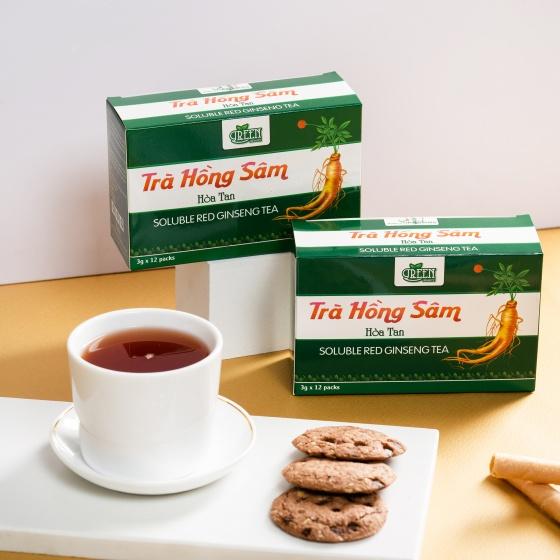 Combo 5 hộp trà hồng sâm Vinanutrifood T02 giảm 6% còn 295.000 đồng; có tác dụng hỗ trợ nâng cao sức khoẻ và tuổi thọ, tăng cường sinh lực... Trong mỗi hộp trà hồng sâm có chứa 12 gói, mỗi gói 3 gram bao gồm: hồng sâm Hàn Quốc 55%; đường Isomalt 20%; phụ liệu... Pha 1 gói với 180 ml nước ấm hoặc nước lạnh; hòa tan rồi uống, có thể thêm đá, thêm đường theo nhu cầu sử dụng. Ngày có thể dùng 3-4 lần.Tặng một hộp trà hoa cúc la mã Vinanutrifood cho đơn hàng từ 200.000 đồng (tích chọn quà khi thanh toán - số lượng có hạn).