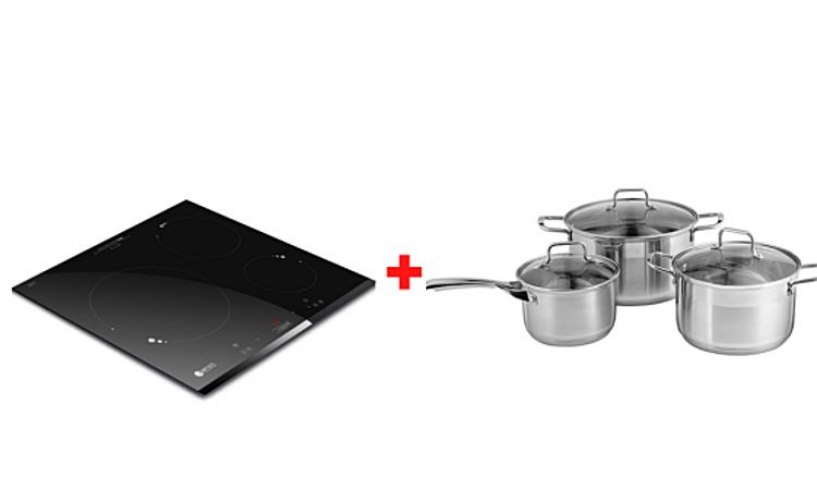 Bếp từ ba Elmich ICE-3493, tặng thêm bộ nồi inox Smartcook 2101OL đang được ưu đãi 46% còn 10,32 triệu đồng. Bếp có tổng công suất 7.200 W, kích thước mặt bếp 58 x 51 cm, kích thước khoét đá âm tủ 53,8 x 48,3 cm. Mặt kính Schott-ceran với khả năng chống sốc nhiệt ở nhiệt độ 800 độ C, chịu lực va đập mạnh. Ba bếp nấu có 3 kích thước và công suất khác nhau. Điều khiển bằng cảm biến hồng ngoại. Bếp có chức năng hẹn giờ, khóa phím, tự nhận diện nồi, cảnh báo dư nhiệt, Stop and Go có thể tạm dừng khi đun nấu. Bộ nồi gồm 1 quánh đường kính 16 cm cao 9,5 cm, 2 nồi đường kính - chiều cao lần lượt là 20 - 11,5 cm và 24 - 14cm, làm từ inox, thiết kế 3 lớp đáy giúp giữ nhiệt tốt. Nắp kính dày 4mm chịu nhiệt, có lỗ thông hơi chống trào. Quai cán bằng inox không gỉ. Đáy từ sử dụng được trên các loại bếp: bếp ga, bếp điện, bếp từ...