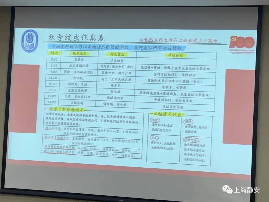 Bảng lịch trình hoạt động của loài muỗi do Phố Trại Hồng theo dõi và thống kê trong nhiều năm, được cô chia sẻ với các tân sinh viên Viện Quản lý kinh tế, Đại học Thượng Hải hồi cuối tháng 8. Ảnh: The Paper.